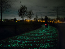 Van Gogh's Starry Night-inspired glowy bicycle path in the Netherlands