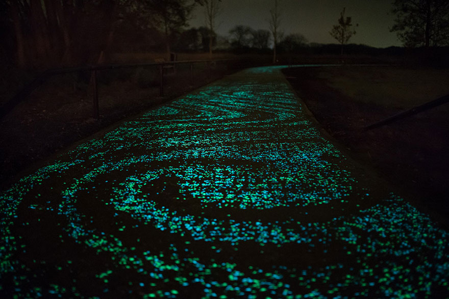Van Gogh Inspired Glowy Bicycle Path In The Netherlands