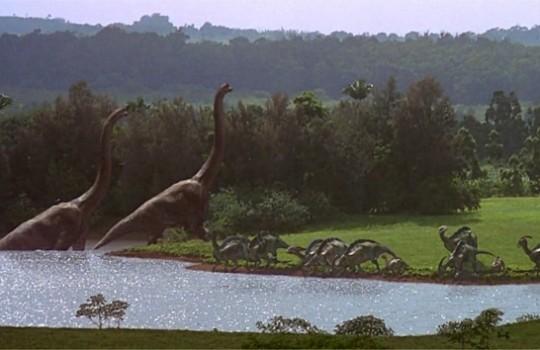 Arrival scene Brachiosaurus Hawaii Jurassic Park 1993