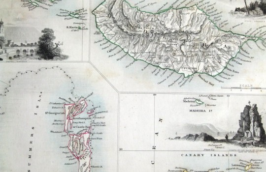 Azores antique map 1850