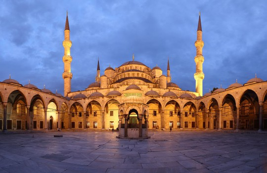 Blue Mosque courtyard at Dusk