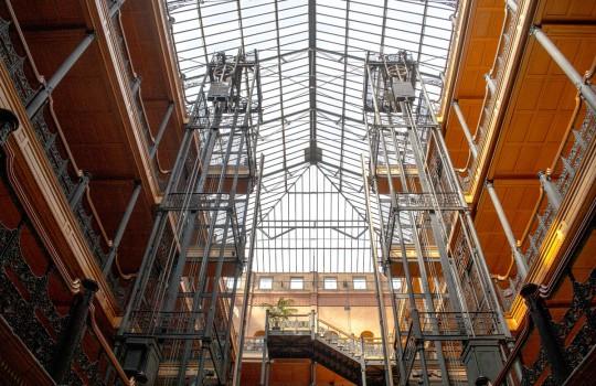 Interior filigree ironwork of the Bradbury Building, Los Angeles