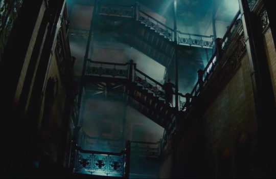 Stairs of the Bradbury Building in Blade Runner (1982)