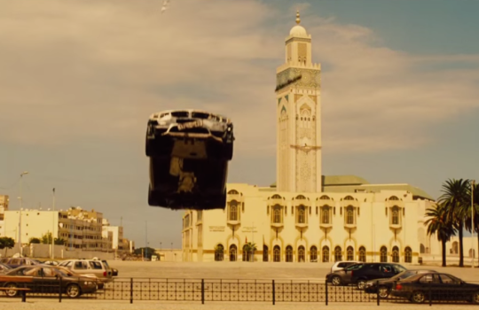 Car jump scene in front of the Hassan II Mosque, Casablanca, Morocco Mission Impossible Rogue Nation filming locations
