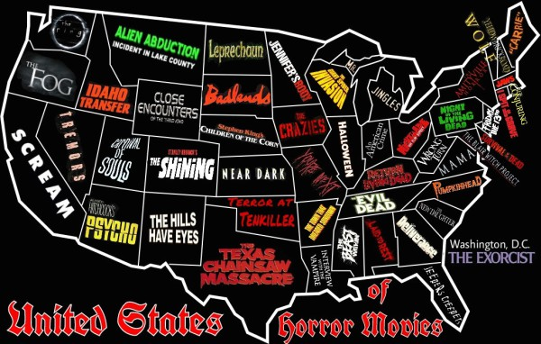 Horror Map, US States, Bloody-Disgusting