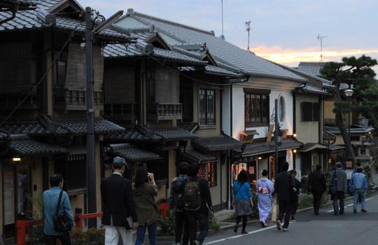 Street of Higashiyama at sunset Kyoto Japan