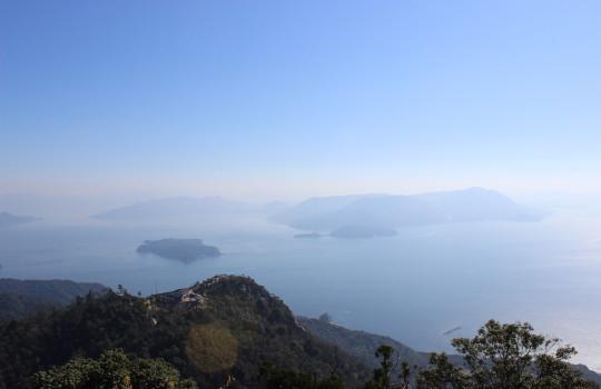 View over Hiroshima Bay from the top of Mount Misen, Miyajima (Itsukushima) Japan