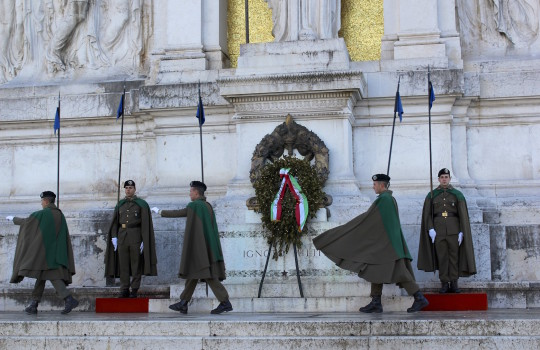 Changing of the Guard at the Monument of the Unknown Soldier at the altar of the Fatherland in Rome