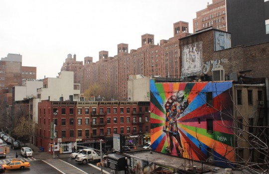 View on street art from the High Line in New York
