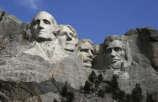 Mount Rushmore in South Dakota that Woody dismisses as 'unfinished'.