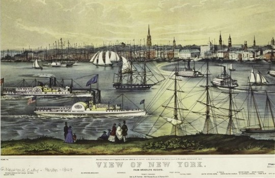 New York View from Brooklyn 19th century illustration