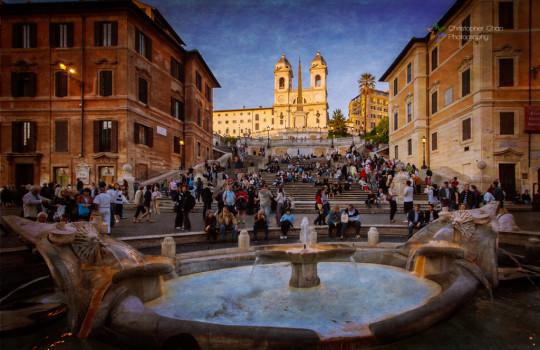 Spanish Steps and Fontana della Barcaccia, Rome, Italy