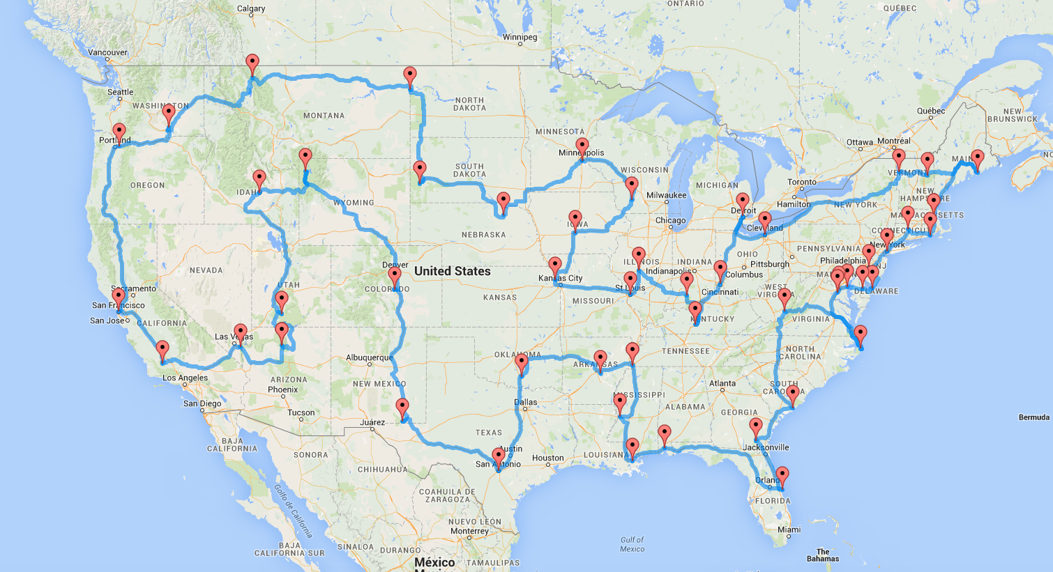 how to drive across the us